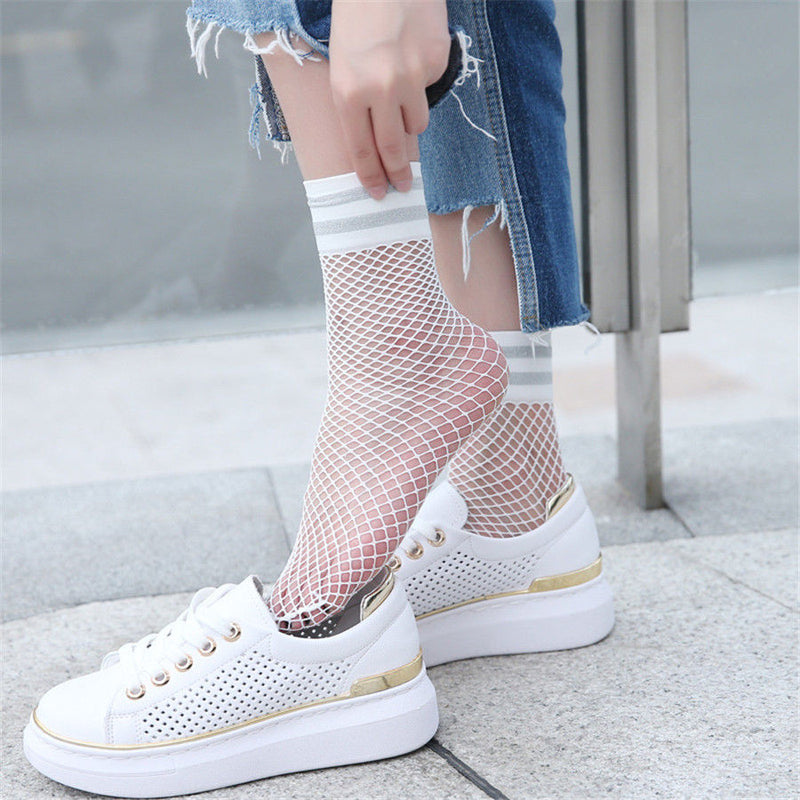 Striped Fishnet Crew Socks