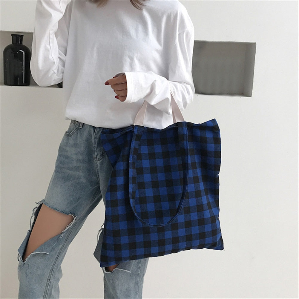 Gingham Double Strap Canvas Tote Bag