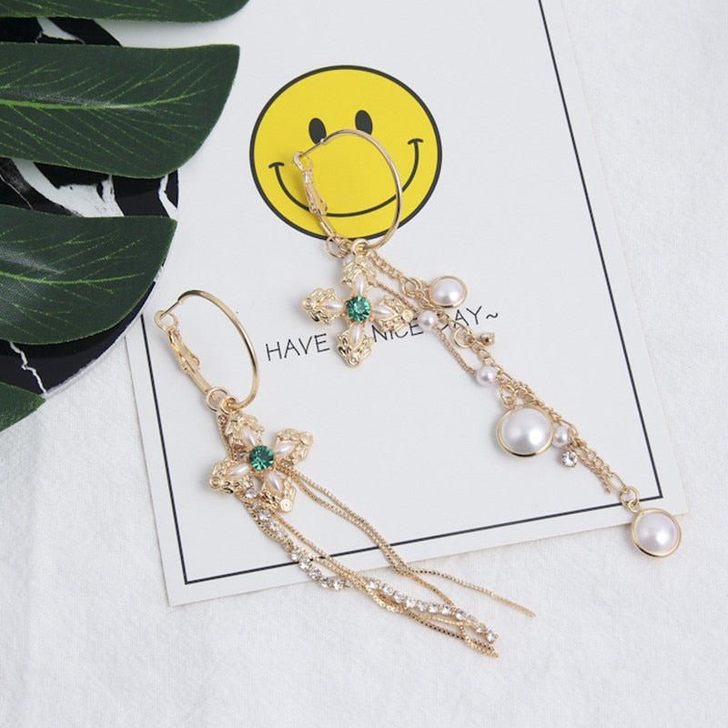Asymmetric Pearl Tassel Cross Drop Earrings