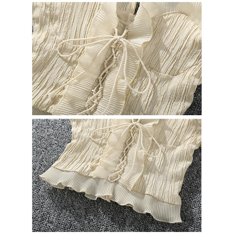Ruffle Trim Lace-up Crop Top