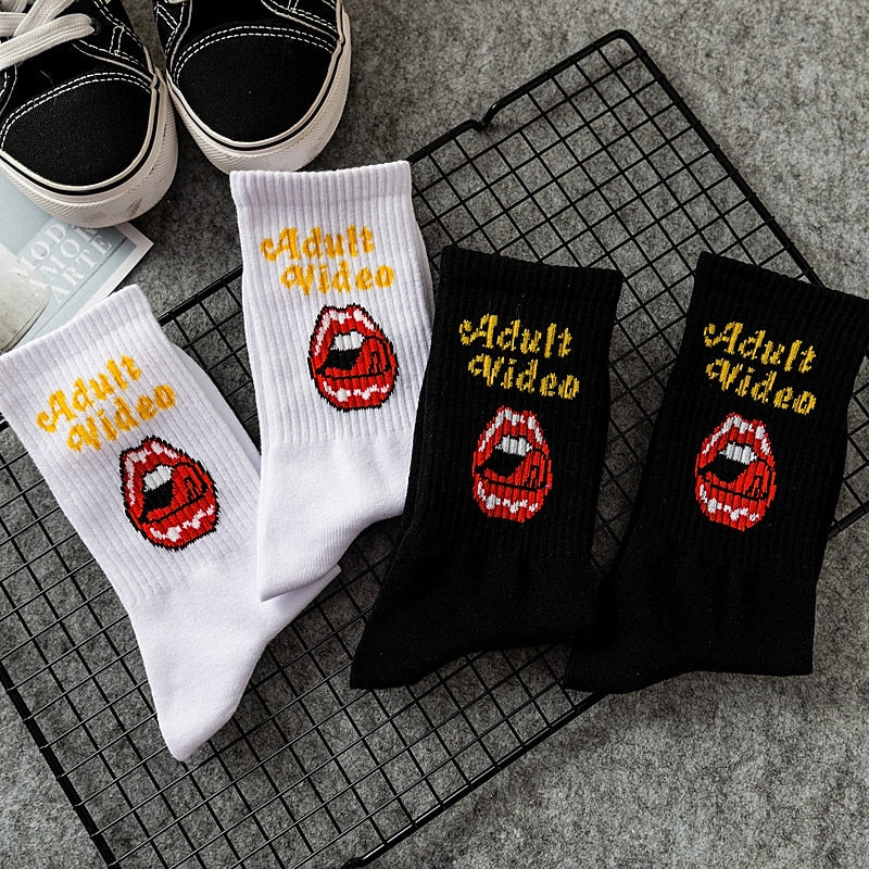 AV Red Lips Crew Socks