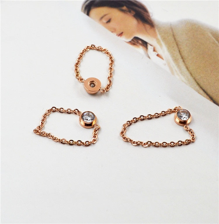 18k Rose Gold Plated Chain Ring