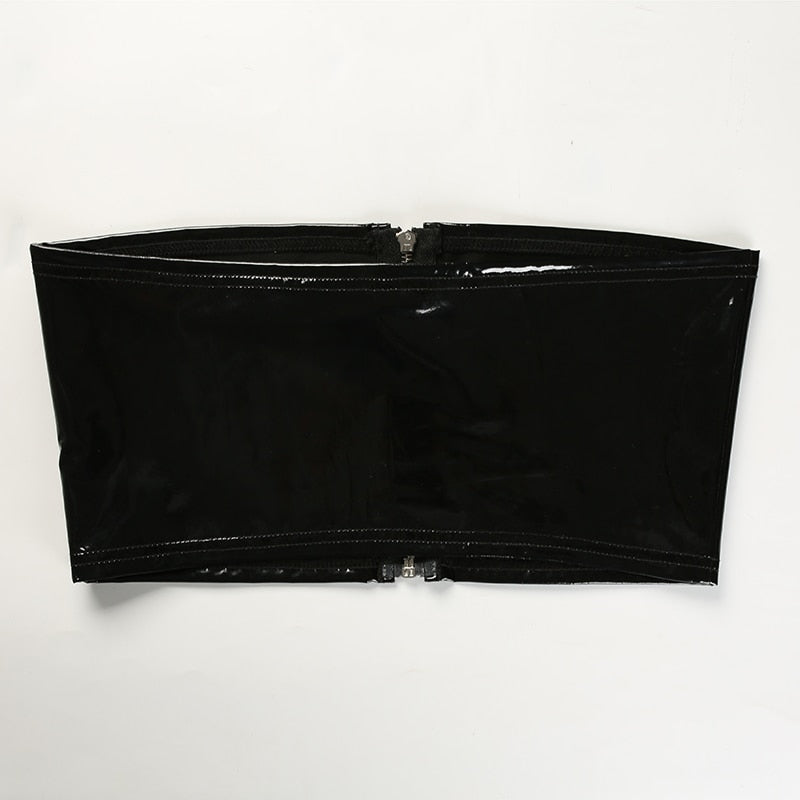 Patent Leather Zip-Up Bandeau Top