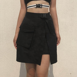 Buckle Belt Slit Skirt