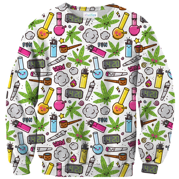 420 Sweater-Shelfies-| All-Over-Print Everywhere - Designed to Make You Smile