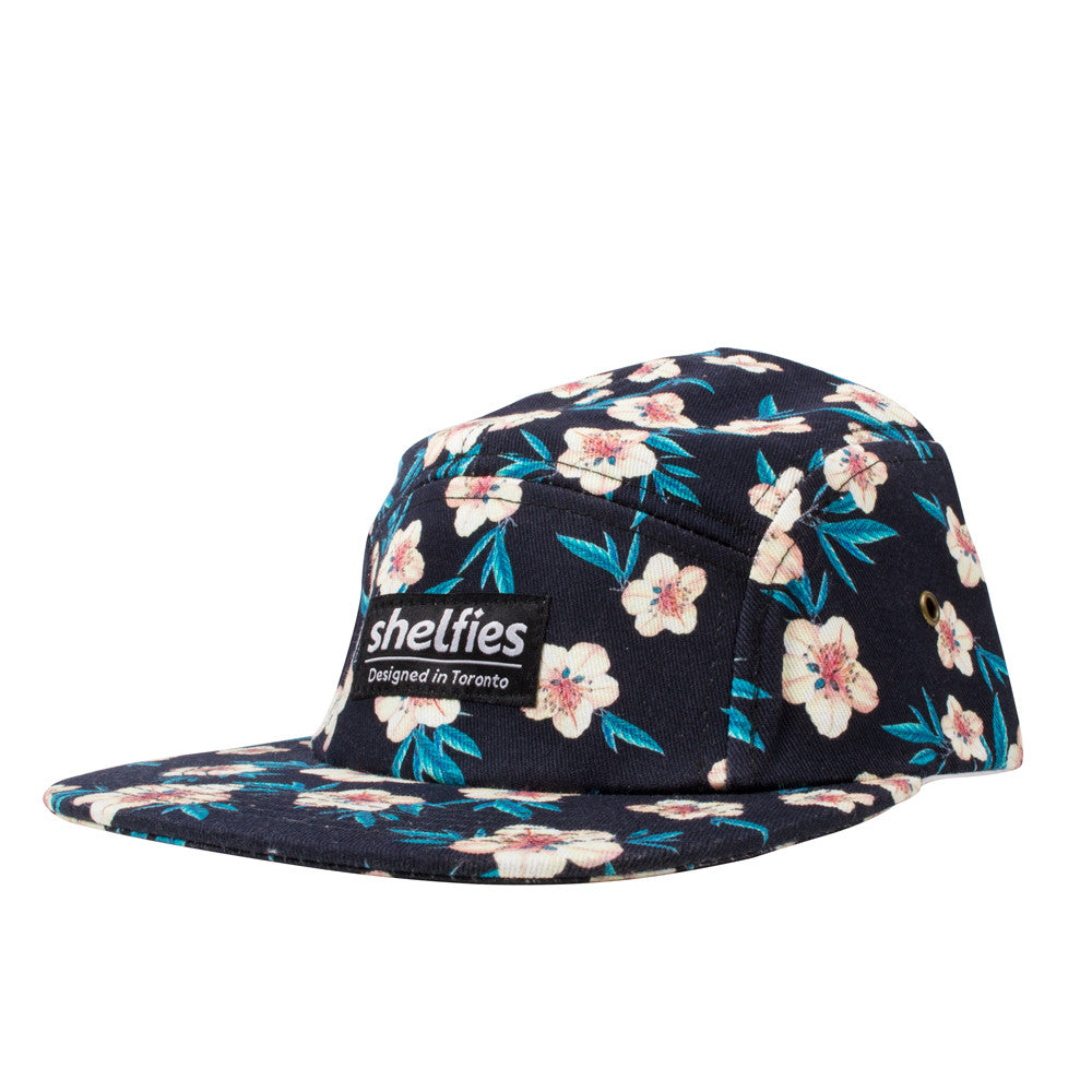 5 Panel Hats - White Flower Hat