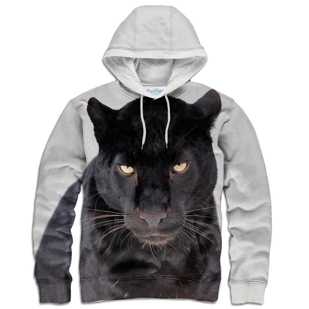 Black Leopard Face Hoodie-Shelfies-| All-Over-Print Everywhere - Designed to Make You Smile