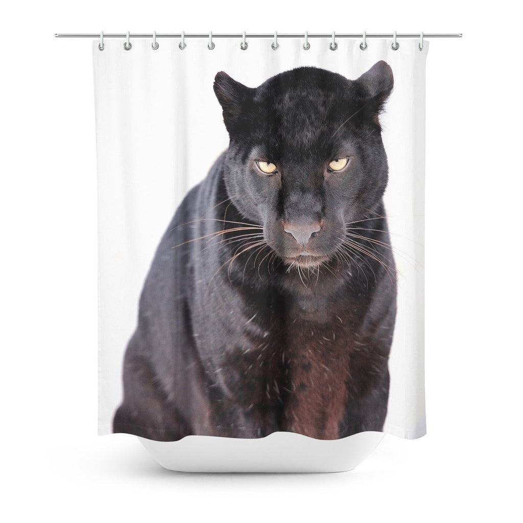 Black Leopard Face Shower Curtain-Gooten-One Size-| All-Over-Print Everywhere - Designed to Make You Smile