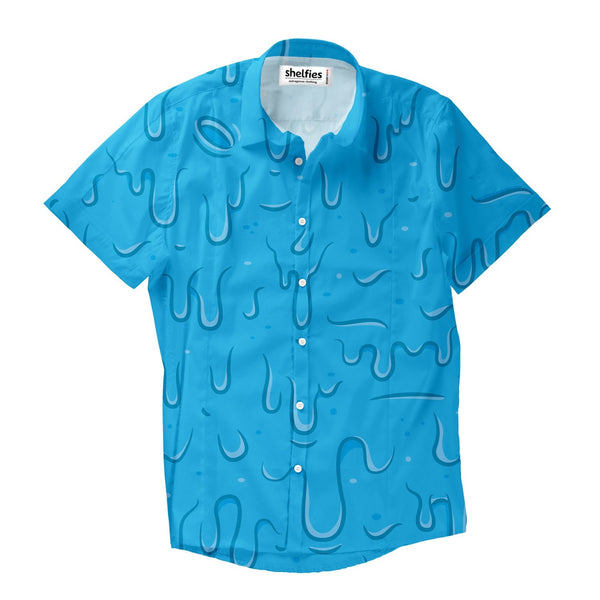 Blue Slime Short-Sleeve Button Down Shirt-Shelfies-| All-Over-Print Everywhere - Designed to Make You Smile