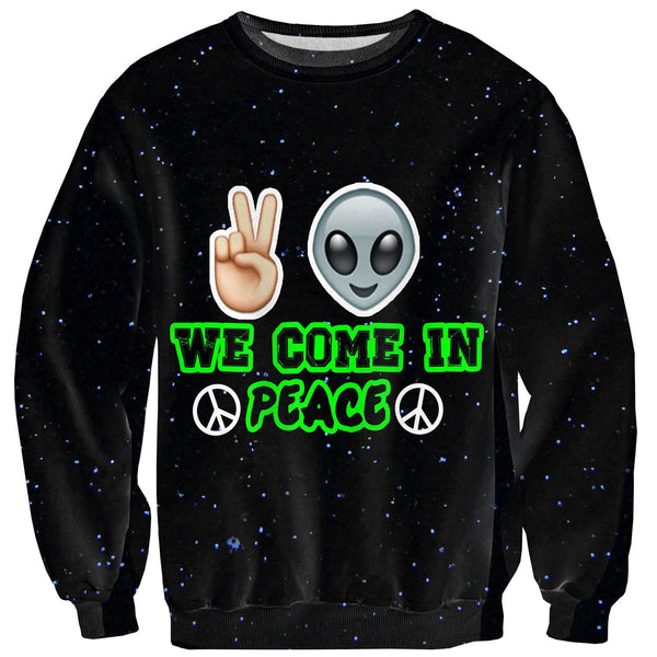 Come In Peace Sweater-Shelfies-| All-Over-Print Everywhere - Designed to Make You Smile