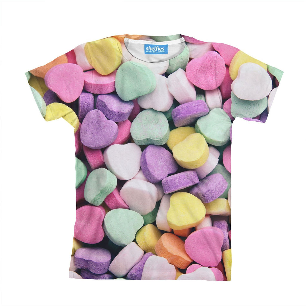Candy Heart Invasion Youth T-Shirt-kite.ly-| All-Over-Print Everywhere - Designed to Make You Smile