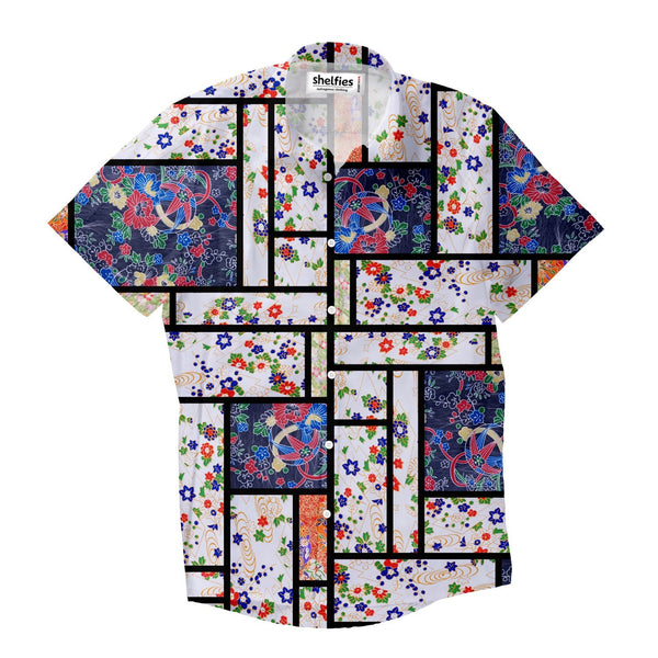 Chiyogami Mondrian Short-Sleeve Button Down Shirt-Shelfies-| All-Over-Print Everywhere - Designed to Make You Smile