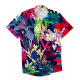 Floral Bird Short-Sleeve Button Down Shirt-Shelfies-| All-Over-Print Everywhere - Designed to Make You Smile
