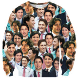 Justin Trudeau Face Sweater-Subliminator-| All-Over-Print Everywhere - Designed to Make You Smile