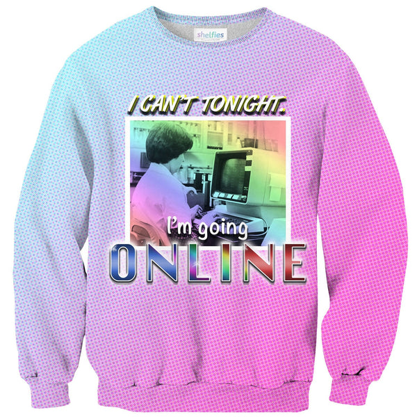 Online Tonight Sweater-Shelfies-| All-Over-Print Everywhere - Designed to Make You Smile