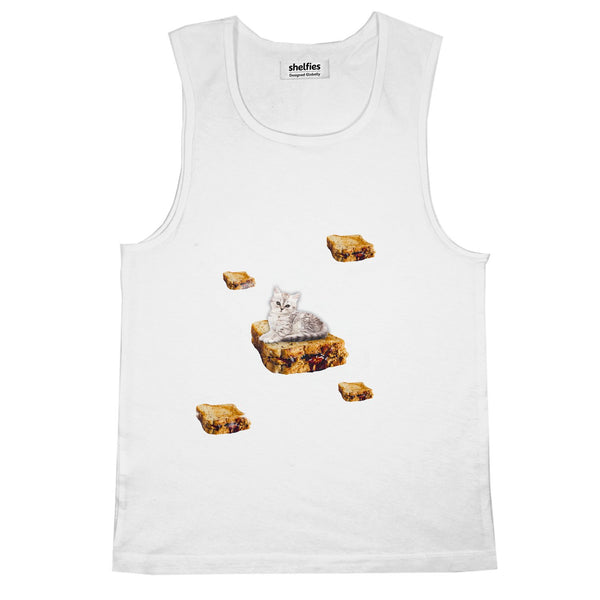 PB & J Galaxy Cat Basic Tank Top-Printify-White-S-| All-Over-Print Everywhere - Designed to Make You Smile