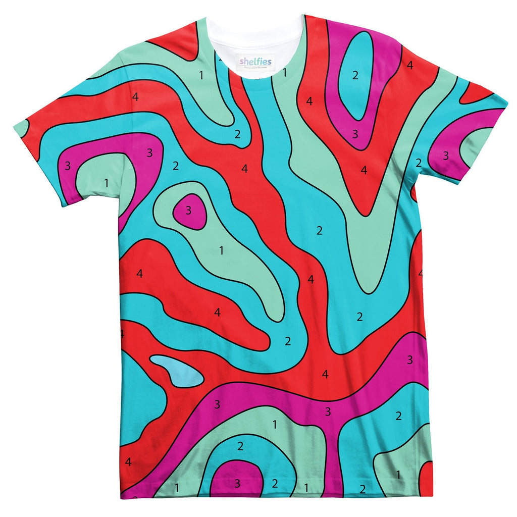 Paint By Numbers Abstract T-Shirt-Shelfies-| All-Over-Print Everywhere - Designed to Make You Smile