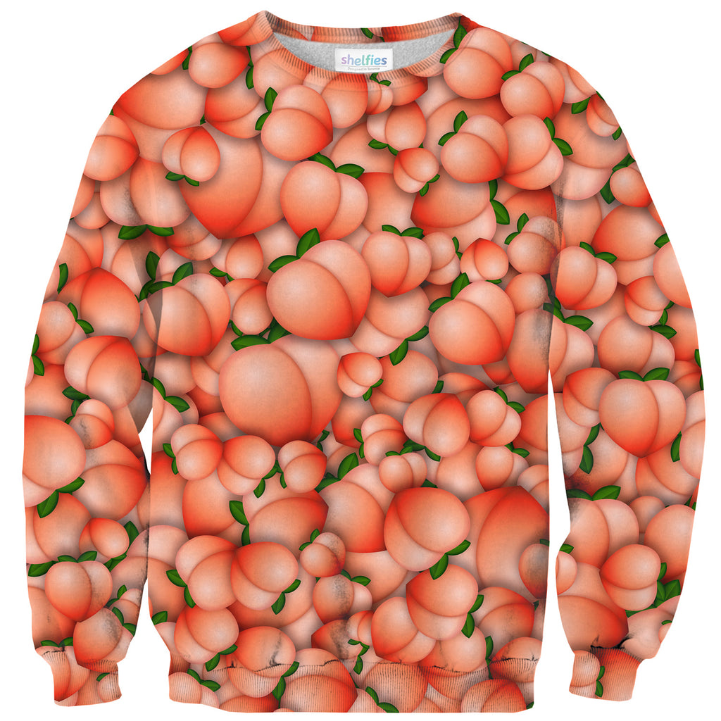 Peach Emoji Sweater-Subliminator-| All-Over-Print Everywhere - Designed to Make You Smile