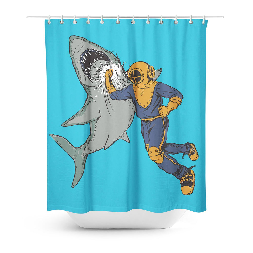 Shark Punch Shower Curtain-Sharpshirter-One Size-| All-Over-Print Everywhere - Designed to Make You Smile