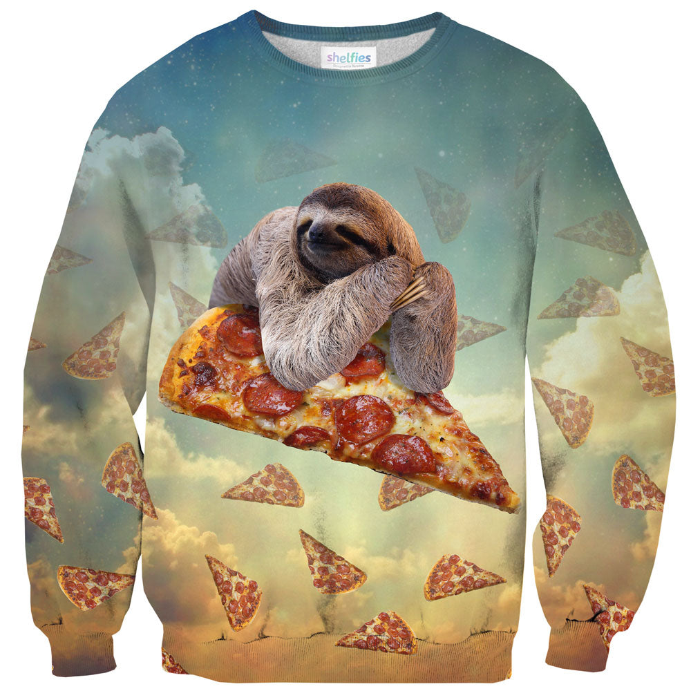 Sloth Pizza Sweater-Subliminator-| All-Over-Print Everywhere - Designed to Make You Smile