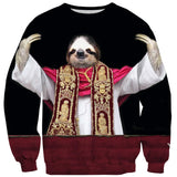 Sloth Pope Sweater-Subliminator-| All-Over-Print Everywhere - Designed to Make You Smile