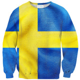 Swedish Flag Sweater-Subliminator-| All-Over-Print Everywhere - Designed to Make You Smile