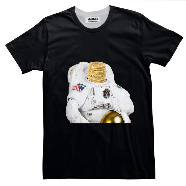 Astronaut Pancakes Basic T-Shirt-Printify-Black-S-| All-Over-Print Everywhere - Designed to Make You Smile