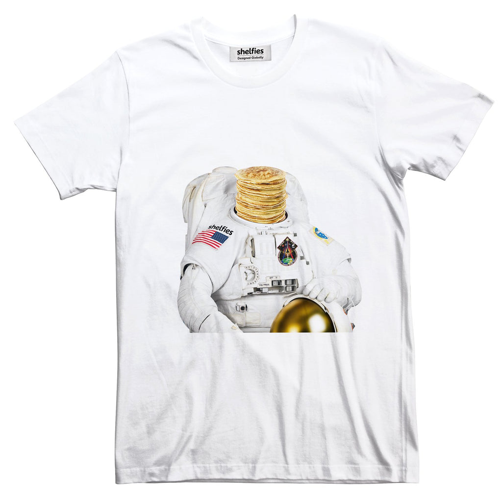 Astronaut Pancakes Basic T-Shirt-Printify-White-S-| All-Over-Print Everywhere - Designed to Make You Smile