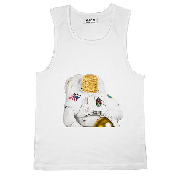 Astronaut Pancakes Basic Tank Top-Printify-White-S-| All-Over-Print Everywhere - Designed to Make You Smile