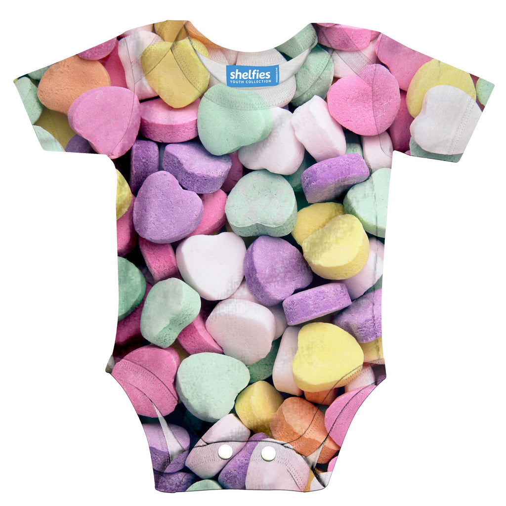 Candy Heart Invasion Baby Onesie-Shelfies-| All-Over-Print Everywhere - Designed to Make You Smile