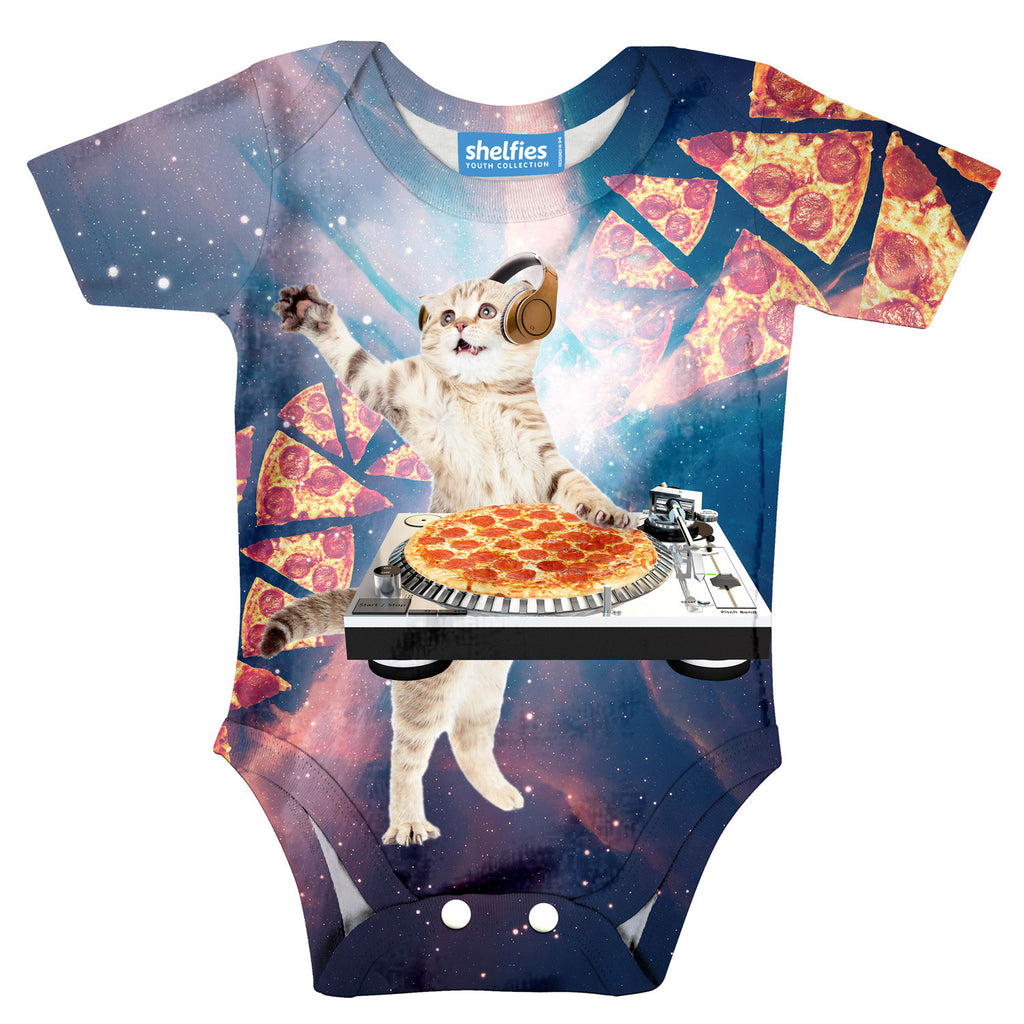 DJ Pizza Cat Baby Onesie-Shelfies-| All-Over-Print Everywhere - Designed to Make You Smile
