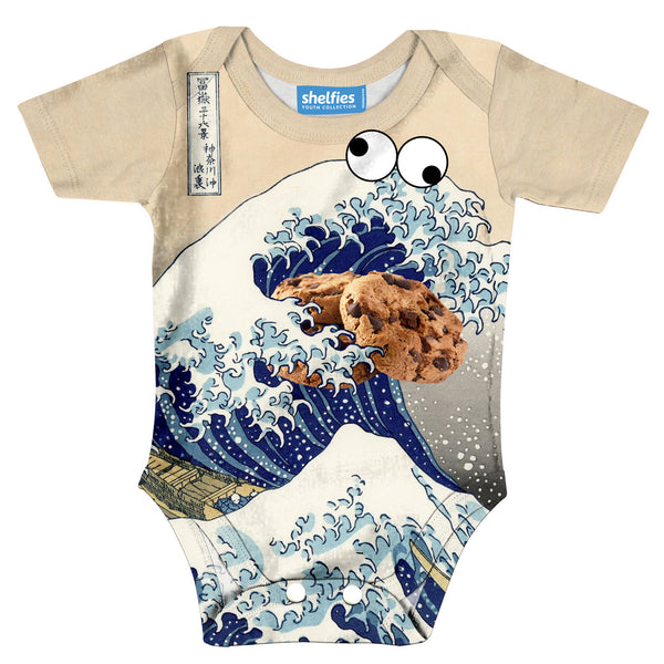 Baby Onesie - Great Wave Of Cookie Monster Baby Onesie