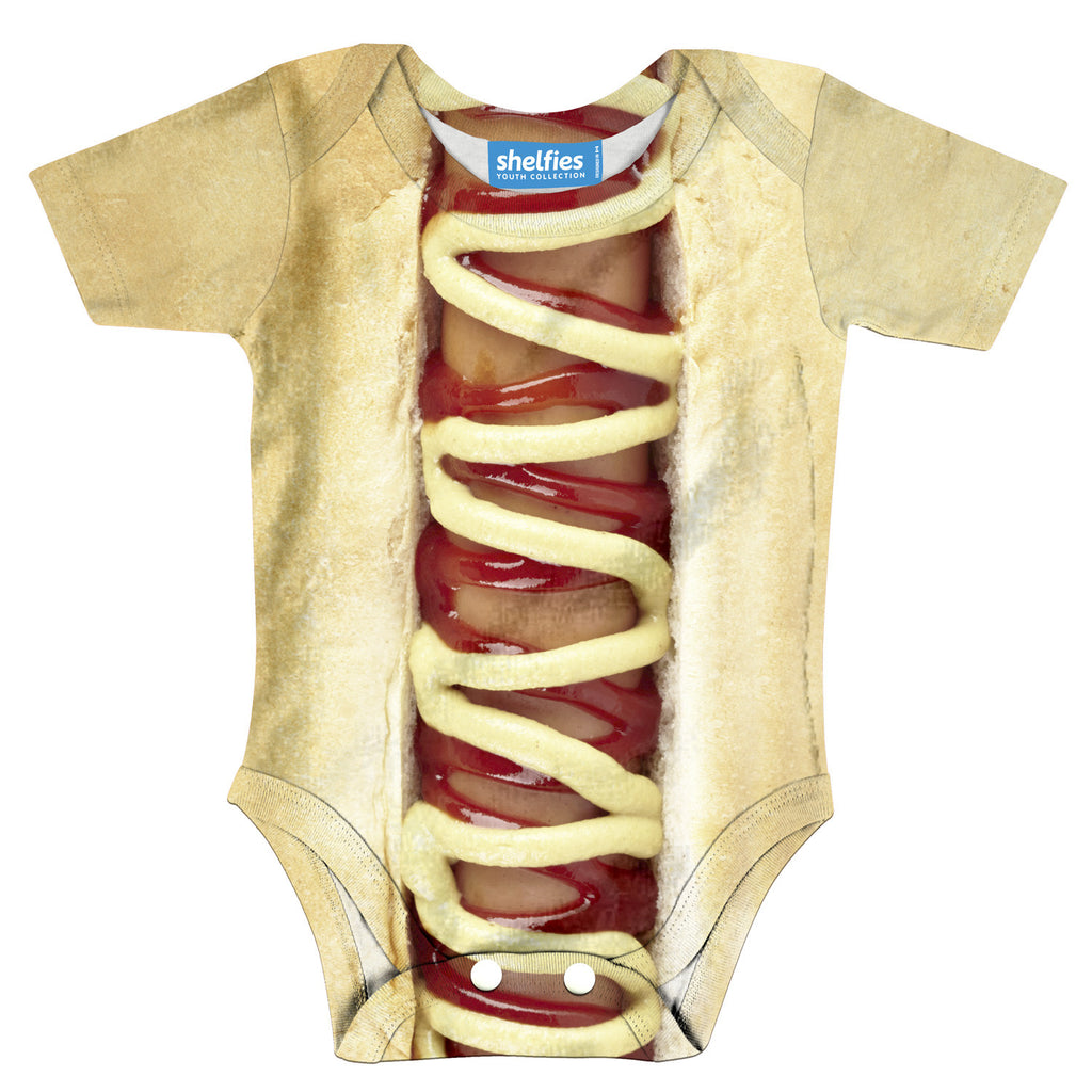 Hot Dog Baby Onesie-Shelfies-| All-Over-Print Everywhere - Designed to Make You Smile