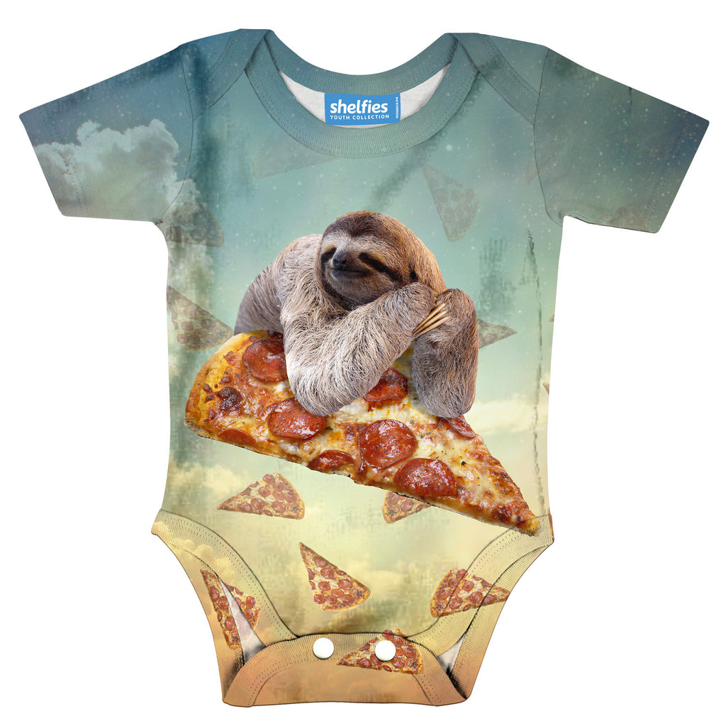 Sloth Pizza Baby Onesie-Shelfies-| All-Over-Print Everywhere - Designed to Make You Smile