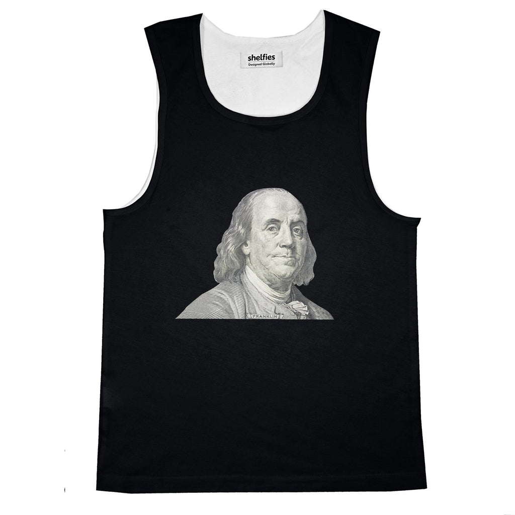 Benjamin Franklin Basic Tank Top-Printify-Black-S-| All-Over-Print Everywhere - Designed to Make You Smile