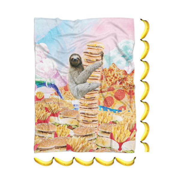 Junkfood Paradise Sloth Blanket-Gooten-| All-Over-Print Everywhere - Designed to Make You Smile