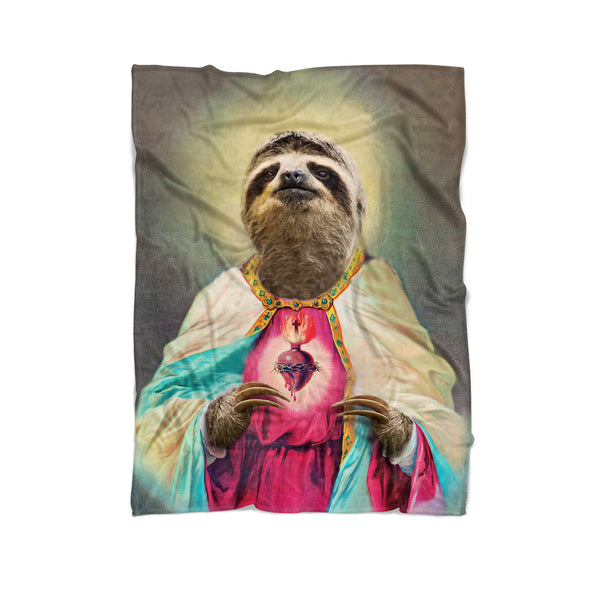 Sloth Jesus Blanket-Gooten-Cuddle-| All-Over-Print Everywhere - Designed to Make You Smile
