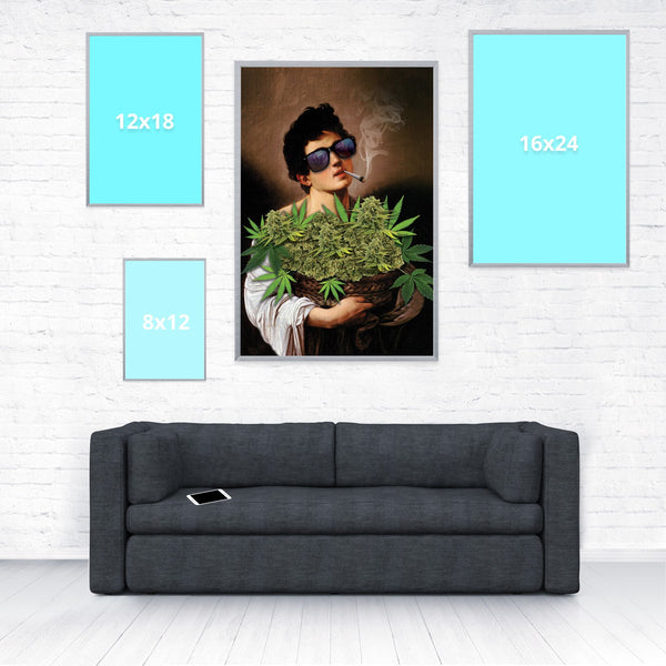 Boy With Basket of Weed Poster-Shelfies-20 x 30-| All-Over-Print Everywhere - Designed to Make You Smile