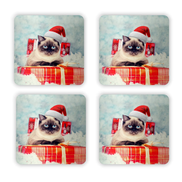 Christmas Cat Coaster Set-Gooten-4-Pack-| All-Over-Print Everywhere - Designed to Make You Smile