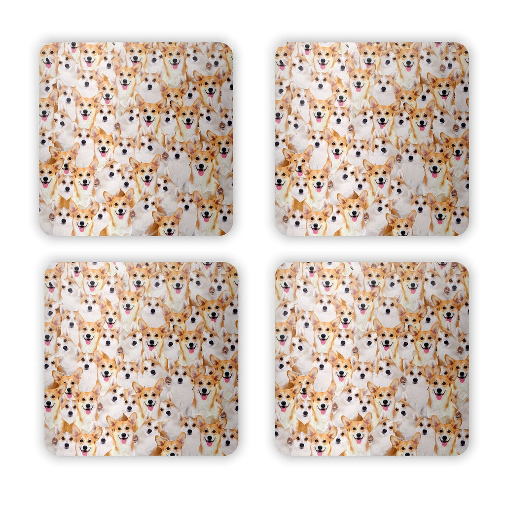 Corgi Invasion Coaster Set-Gooten-Set of 4-| All-Over-Print Everywhere - Designed to Make You Smile