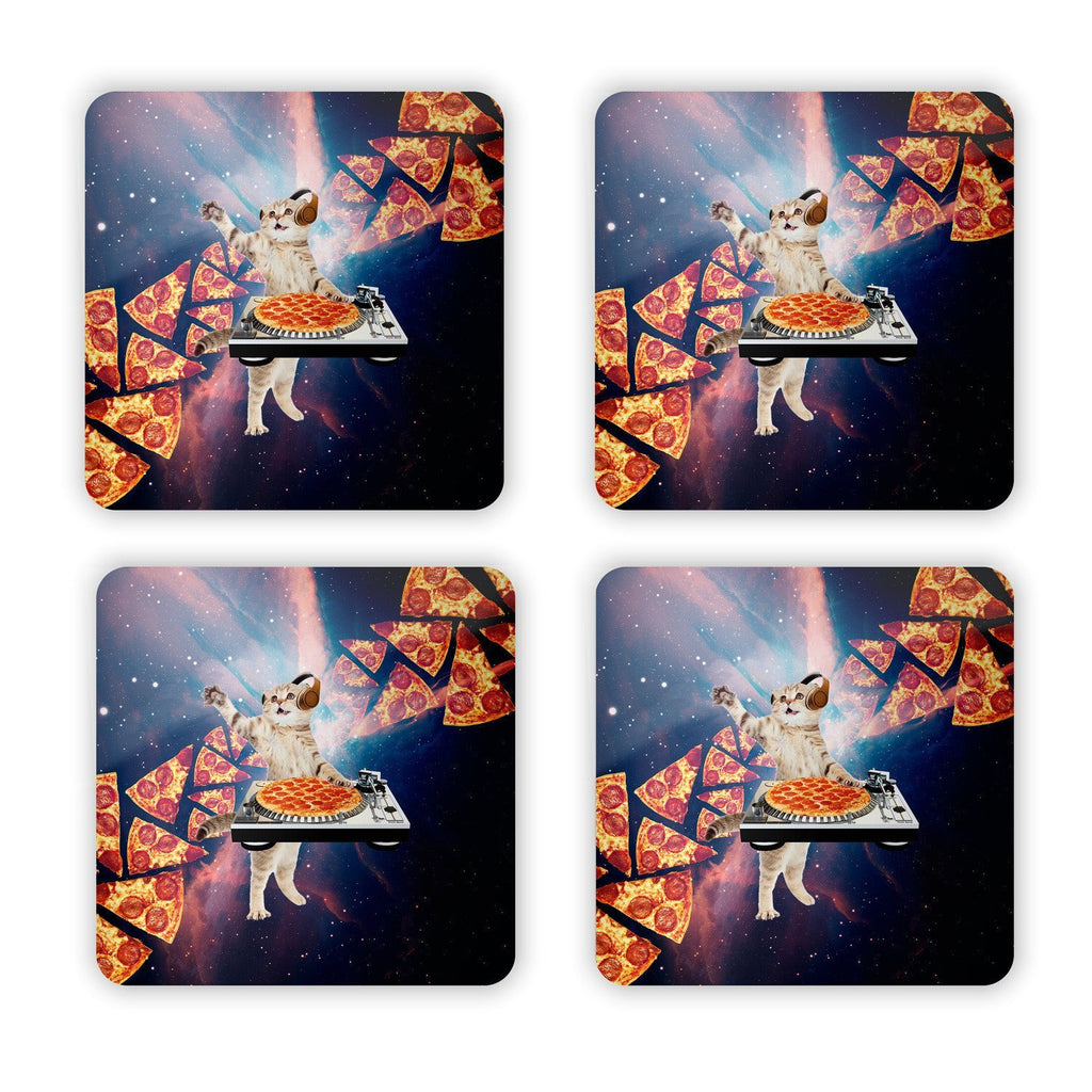 DJ Pizza Cat Coaster Set-Gooten-Set of 4-| All-Over-Print Everywhere - Designed to Make You Smile