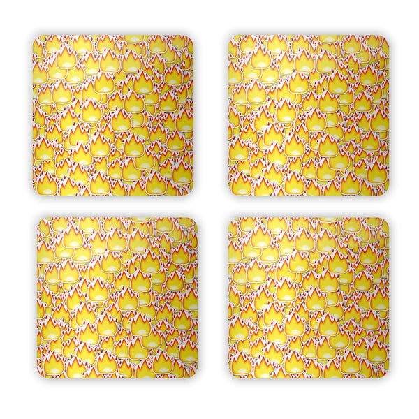 Fire Emoji Invasion Coaster Set-Gooten-Set of 4-| All-Over-Print Everywhere - Designed to Make You Smile