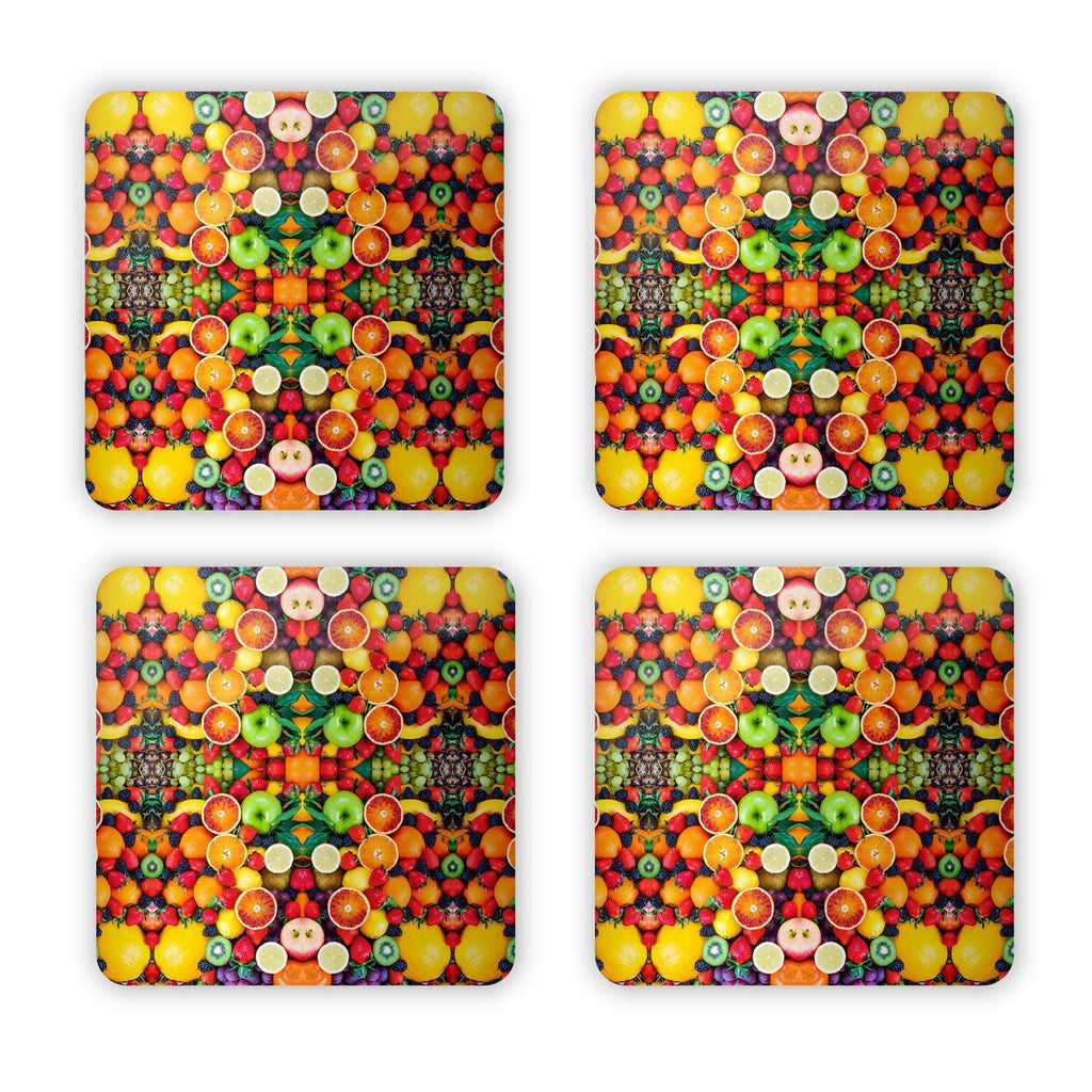 Fruit Explosion Coaster Set-Gooten-Set of 4-| All-Over-Print Everywhere - Designed to Make You Smile