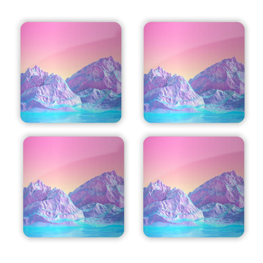 Pastel Mountains Coaster Set-Gooten-Set of 4-| All-Over-Print Everywhere - Designed to Make You Smile