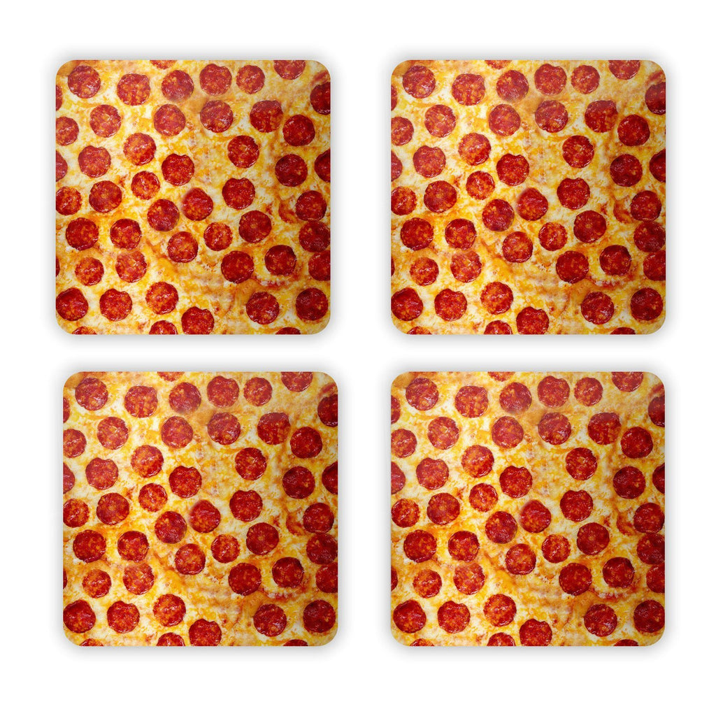 Pizza Invasion Coaster Set-Gooten-Set of 4-| All-Over-Print Everywhere - Designed to Make You Smile