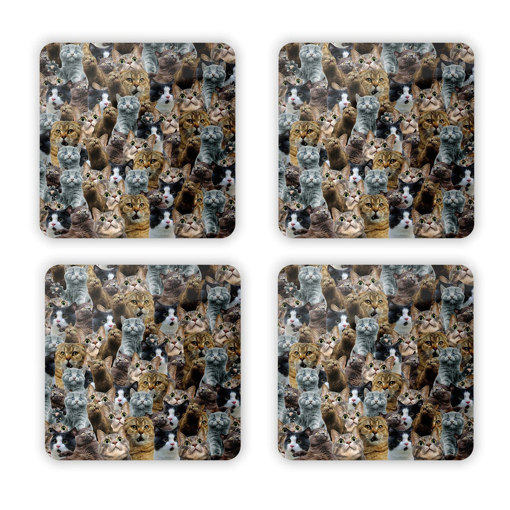 Scaredy Cat Invasion Coaster Set-Gooten-Set of 4-| All-Over-Print Everywhere - Designed to Make You Smile
