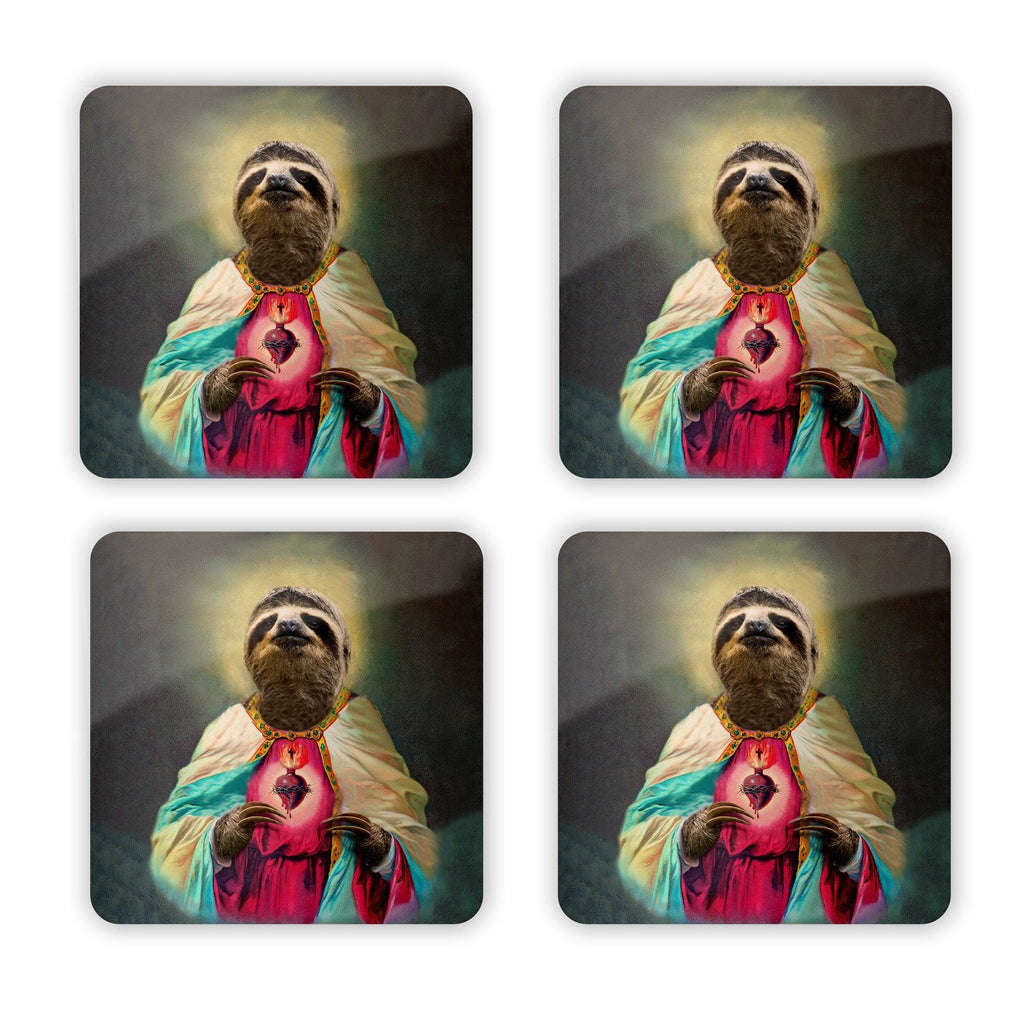 Sloth Jesus Coaster Set-Gooten-Set of 4-| All-Over-Print Everywhere - Designed to Make You Smile