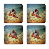 Sloth Pizza Coaster Set-Gooten-Set of 4-| All-Over-Print Everywhere - Designed to Make You Smile