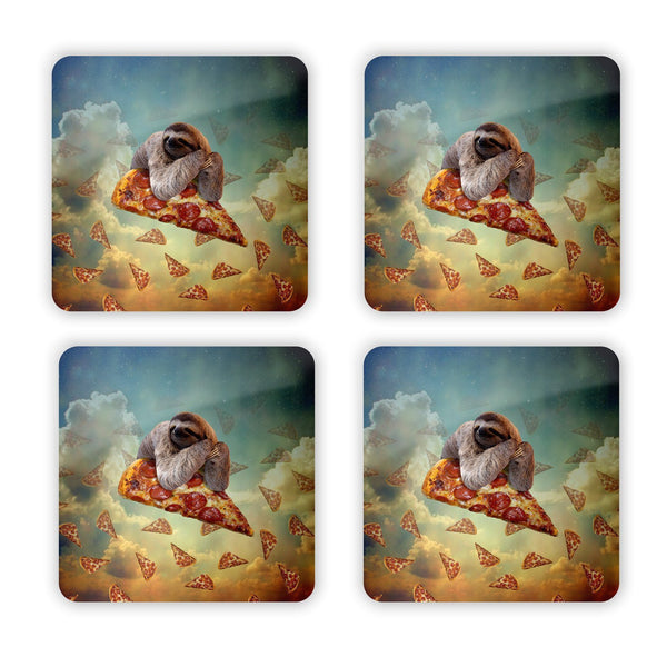 Sloth Pizza Coaster Set-Gooten-| All-Over-Print Everywhere - Designed to Make You Smile