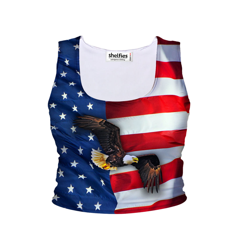 American Flag Crop Tank-Shelfies-| All-Over-Print Everywhere - Designed to Make You Smile